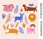 cute dog poster for nursery....   Shutterstock . vector #1735141058