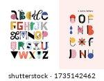 nursery lettering. childish... | Shutterstock .eps vector #1735142462
