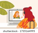 webinar. young woman sitting at ... | Shutterstock .eps vector #1735164995