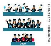 banner graduation 2020 set....   Shutterstock .eps vector #1735178945