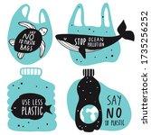 no to plastic concept set. sea...   Shutterstock .eps vector #1735256252