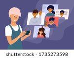 video call of group of people.... | Shutterstock .eps vector #1735273598