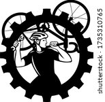 Cyclist Bicycle Mechanic Carrying Bike Sprocket Black and White - stock vector
