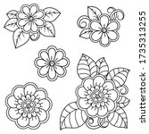 set of mehndi flower pattern... | Shutterstock .eps vector #1735313255