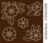 set of mehndi flower pattern... | Shutterstock .eps vector #1735313258