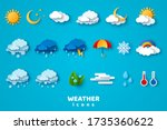 paper cut weather icons set on... | Shutterstock .eps vector #1735360622