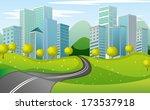 illustration of a narrow road... | Shutterstock . vector #173537918