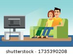 young couple watching tv on... | Shutterstock .eps vector #1735390208