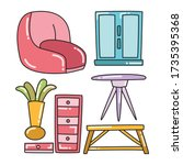 furniture and interior... | Shutterstock .eps vector #1735395368