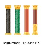 realistic antique pillars set.... | Shutterstock .eps vector #1735396115