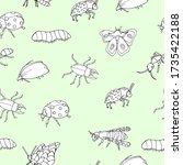 seamless pattern with insects... | Shutterstock .eps vector #1735422188
