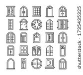 window icons set line theme... | Shutterstock .eps vector #1735435325