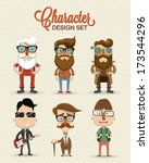 different type of character... | Shutterstock .eps vector #173544296