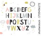 hand drawn children alphabet... | Shutterstock .eps vector #1735456172