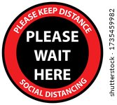 social distancing queue sign.... | Shutterstock .eps vector #1735459982