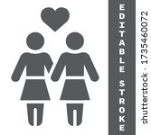 lesbian couple glyph icon  lgbt ... | Shutterstock .eps vector #1735460072