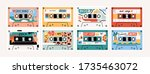 set of eight retro vintage tape ... | Shutterstock .eps vector #1735463072