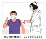 a man with purple shirt and...   Shutterstock .eps vector #1735471988