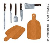 set of knives and cutting... | Shutterstock .eps vector #1735496582