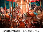 A Night Shot Of A Merry Go...