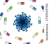 bacteria vector background with ... | Shutterstock .eps vector #1735519742
