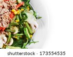 fresh chopped tuna salad with... | Shutterstock . vector #173554535