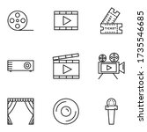 cinema icon set  with outline...