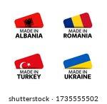 set of four albanian  romanian  ... | Shutterstock .eps vector #1735555502