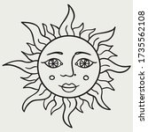 sun with face black outline... | Shutterstock .eps vector #1735562108