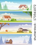 vector four seasons banners   Shutterstock .eps vector #173561072