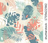 seamless tropical with leaves... | Shutterstock . vector #1735622582