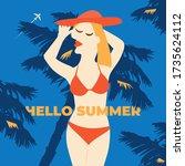 summer girl poster. vacation... | Shutterstock . vector #1735624112