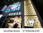 Small photo of Tokyo/Japan March 5, 2020 Guess Store in Tokyo. Guess is an American clothing brand and retailer.