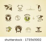 Milk And Cow Labels  Elements...
