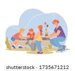 gardening with children and... | Shutterstock .eps vector #1735671212