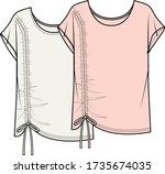 Womens blouse fashion flat technical drawing template. GATHERED TOP