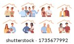 set of families stay at home.... | Shutterstock .eps vector #1735677992