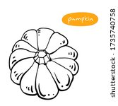 pumpkin. black line sketch... | Shutterstock .eps vector #1735740758
