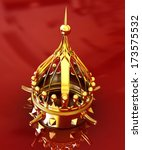 Gold Crown Isolated On Red...