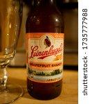 Small photo of Berkeley Heights, NJ / USA - 06/28/2019: bottle of grapefruit shandy summer drink