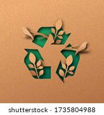 recycle icon papercut... | Shutterstock .eps vector #1735804988