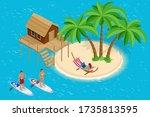 isometric summer vacation... | Shutterstock .eps vector #1735813595