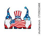american gnomes holding flag... | Shutterstock .eps vector #1735822688