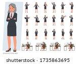 set of old businesswoman... | Shutterstock .eps vector #1735863695