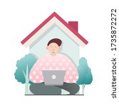 sitting young man with laptop... | Shutterstock .eps vector #1735872272