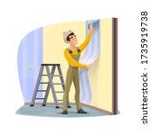 worker gluing a wallpaper  home ... | Shutterstock .eps vector #1735919738