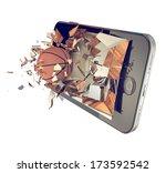 a basketball ball on cell phone.... | Shutterstock . vector #173592542