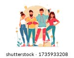 team with young men and women... | Shutterstock .eps vector #1735933208