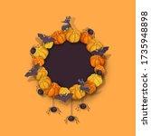 halloween wreath with pumpkins  ...   Shutterstock .eps vector #1735948898