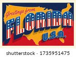 greetings from florida usa.... | Shutterstock .eps vector #1735951475
